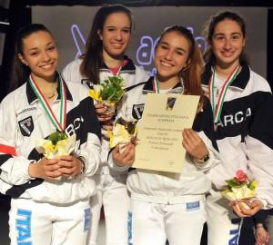 Squadra Fioretto Femmninile B1, Medaglia d'Argento Campionati Italiani 2015 Anna Teatini, Anna Zuin, Francesca Canesso, Sveva Furlan