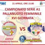 Pallanuoto femminile A1: sabato Lantech Plebiscito vs Rapallo